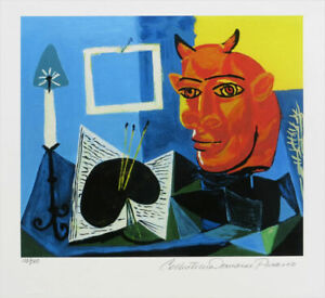 Pablo PICASSO Still Life With Red Headed Minotaur Signed Giclee 13 x 20