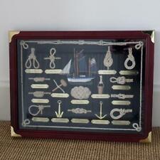 Framed Shadow Box Display of Maritime Sailor Nautical Knots & Boat 42 x 32 cm