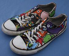Converse All Star Sneakers Sz 10 / 12 Low Comic Book Fun Print Unisex Cartoon