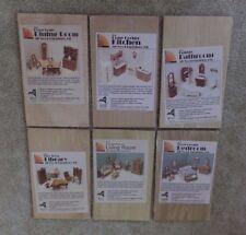 6 pkg kits wood DOLL HOUSE FURNITURE dining library kitchen living bedroom NIB