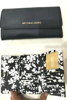 Michael Kors Jet Set Travel LG Continental Trifold Wallet Saffiano Leather Navy
