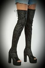 New Black Velvet Gothic Sexy Peep Toe Platform Over Knee Thigh High Boots size 7