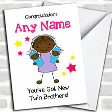 Black Big Sister New Baby Twin Boys Brothers Sibling Personalised Card