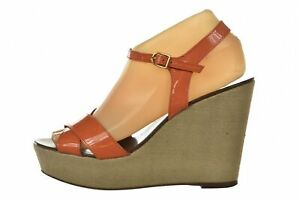 J Crew Womens Shoes Size 8 Orange Ankle Strap Wedge Patent Leather Heels Sandals