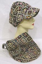 Vintage Ladies Hat & Matching Purse Geometrics Textured Fabric 1970s NICE!