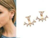 Pave Crystal Studded Spike Rays & Chevron Gold Ear Jackets Cuff Earrings Urban