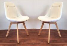 2er-Set Stuhl Sessel Schalenstuhl Retro 70er Jahre Buche weiß NEU OVP!!