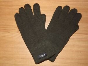 THERMAL GLOVES COLD WEATHER HIKING HUNTING FISHING ARMY OLIVE GREEN & BLACK