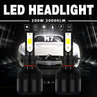 2X H7 200W 20000LM LED Headlight Conversion Kit Beam Light Bulbs 6000K White EFP