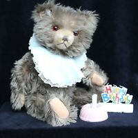 "Cute Old German Teddy Bear 1950s 40cm 15.8"" Teddy´s Birthday - with Accessories"
