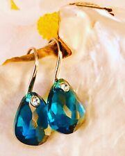 💙 COOL! Vintage Turquoise Teal Blue Glass Gem Rhinestone Earrings Drop Dangle