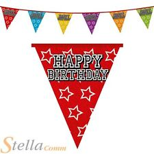 8m Triangular Holographic Happy Birthday Bunting Pennant Party Flag Celebration