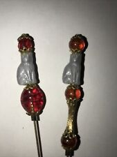 Grey Czech Cat Glass Beaded Stick Pin Hatpin Only Two