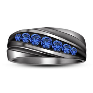 Men's Round Blue Sapphire 14K Solid Black Gold Over Wedding Band Engagement Ring