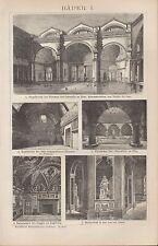Lithografie 1903: Bäder I/II. Innen-Architektur Einrichtung Stühle Lampe Bad