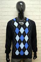 Maglione GANT Uomo Taglia XL Pullover Sweather Cardigan A Rombi Cotone Blu Man