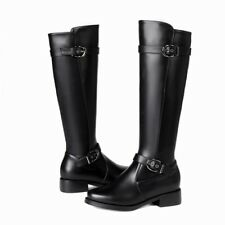 Ladies Riding Boots Knee High Block Heels Leather Buckle Strap Casual Shoes DD