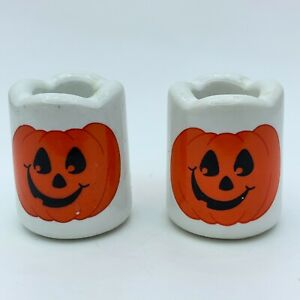 Vintage Jack-o-lantern Silly Pumpkin Ceramic Vigil Candle Holders Set of 2