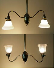 Antique Vintage Brass Double Dual Light Pendant Convertible up or down shades