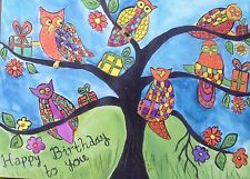 "Happy Birthday card, Colourful Owls on a Tree   5"" x 7"" By Casimira Mostyn"