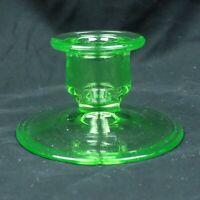VintageDepressionUranium Pressed clear green Glass Candle Stick/Taper Holder J36