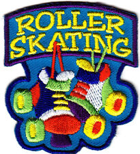 """ROLLER SKATING"" w/SKATES- Iron On Embroidered Patch - Skates, Sports, Words"