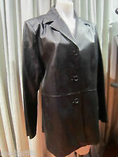 womens classic black leather jacket SZ 16 fully lined!