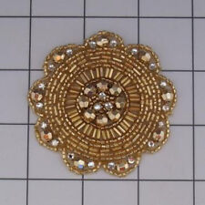 Gold W/Crystal Beaded Flower Applique 2415-A