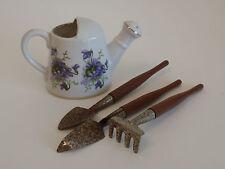 Vintage Rubel Porcelain Miniature Watering Can Garden Tools Purple Violets Japan