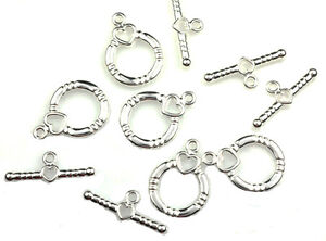 SILVER PLATED HEART ROUND TOGGLE CLASPS 5 SETS
