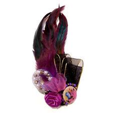 Broche Pince cheveux bibi années folles gothiques satin plumes violette noire