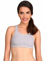 JOCKEY NON WIRE COTTON KNITTED SPORT BRA STYLE #1582 LIGHT GREY MELANGE