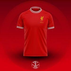 Mens Liverpool Style Retro Football Top T Shirt Jersey Medium M SLIM FIT