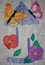 Beautiful Sculpted Embossed BUTTERFLY HOUSE Spring Summer Yard Flag Banner