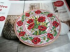 CROSS STITCH CHART RED POPPIES POPPY PLATE STYLE FLOWERS FLORAL CHART