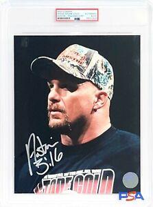 WWE STONE COLD HAND SIGNED AUSTIN 316 8X10 PHOTO ENCAPSULATED BY PSA COA 2 RARE
