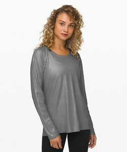 LULULEMON Emerald Long Sleeve *Shine Women's Top Size 14 Silver NEW w/Tag $68