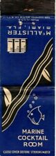 McAllister MARINE Cocktail Room Miami FL Matchcover Matchbook Vintage