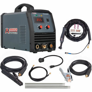 TIG-205HF, 205 Amp TIG Torch Stick Arc DC Inverter Welder, 100~250V Wide Voltage