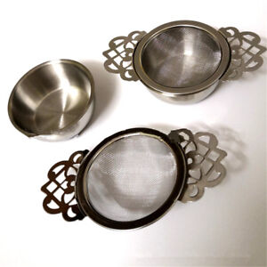 Fine Mesh Tea Strainer Filter Empress Infuser with Drip Tray Stainless Steel