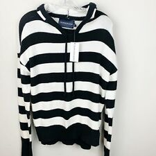 Calvin Klein Black And White Womens Striped Hooded Sweater Size L
