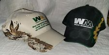 2 WM Waste Management Camo-Black Adjustable Baseball Cap Hat Great Condition New