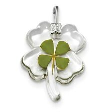 925 Sterling Silver Real Leaf Clover Epoxy Pendant Charm Necklace Good Luck