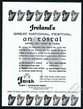 1954 Irish harp art An Tostal festival Ireland travel vintage print ad
