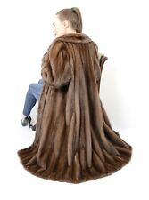 US2295 MODERN FEMALE MINK FUR COAT FULL LENGTH DEMI BUFF SIZE XL - NERZMANTEL