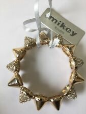 Mikey London Gold & Crystal Stud Stretch Bracelet Ladies, Brand New Fashion