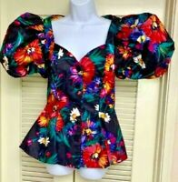 Black Floral Top Blouse Button Front PUFF Sleeve Sweetheart Bodice Lined Vintage