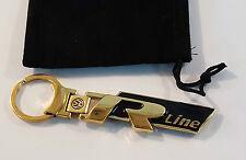 24ct vergoldet VW R Line Schlüsselanhänger 24K Golf Touareg Tiguan Passat Polo