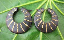 Da Uomo/Donna BIGL CERCHI Legno Tribale Orecchini Piercing naturale fatto a mano Nero