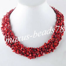 """Free shipping Red Coral Chips Gemstone Beads Weave Necklace 17 1/2 """" MH070"""